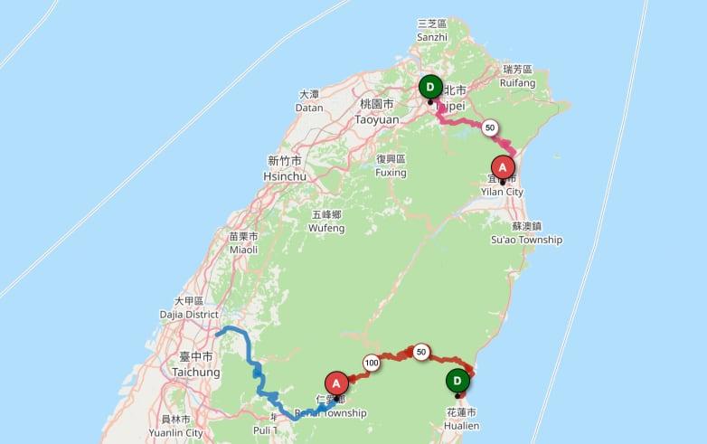 carte vélo taiwan